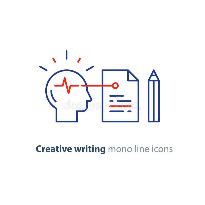 Storytwlling和创造性的文字、神经科学和心理学概念商标,科学研究 皇族释放例证