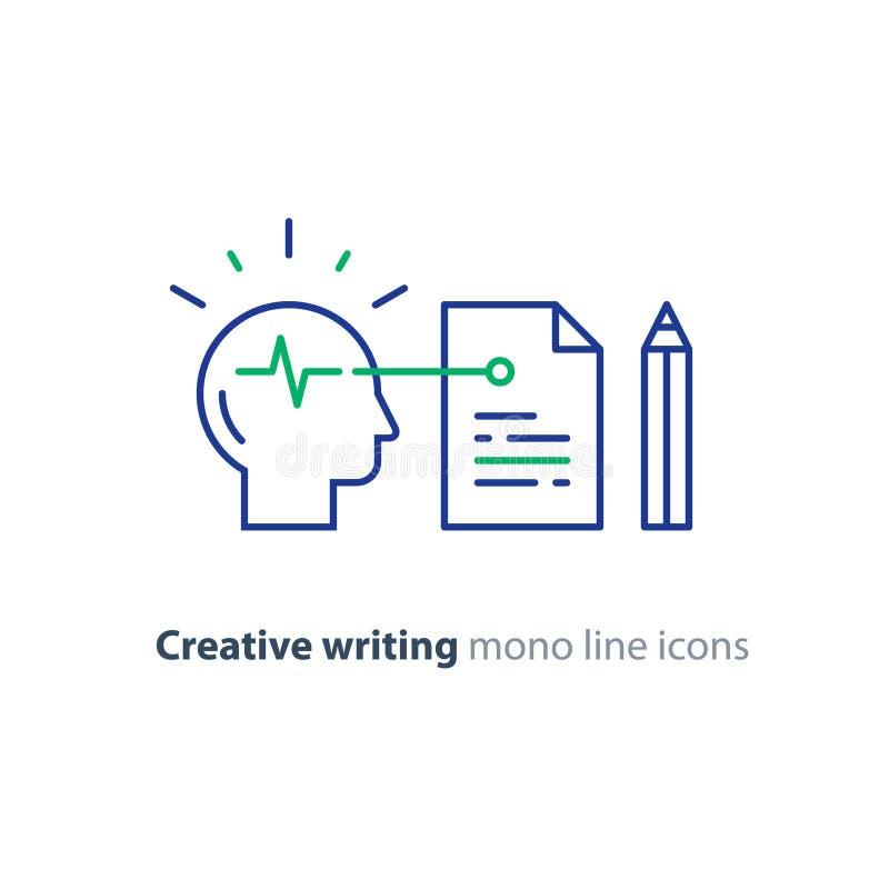 Storytwlling e logotipo criativo do conceito da escrita, da neurociência e da psicologia, pesquisa da ciência ilustração royalty free