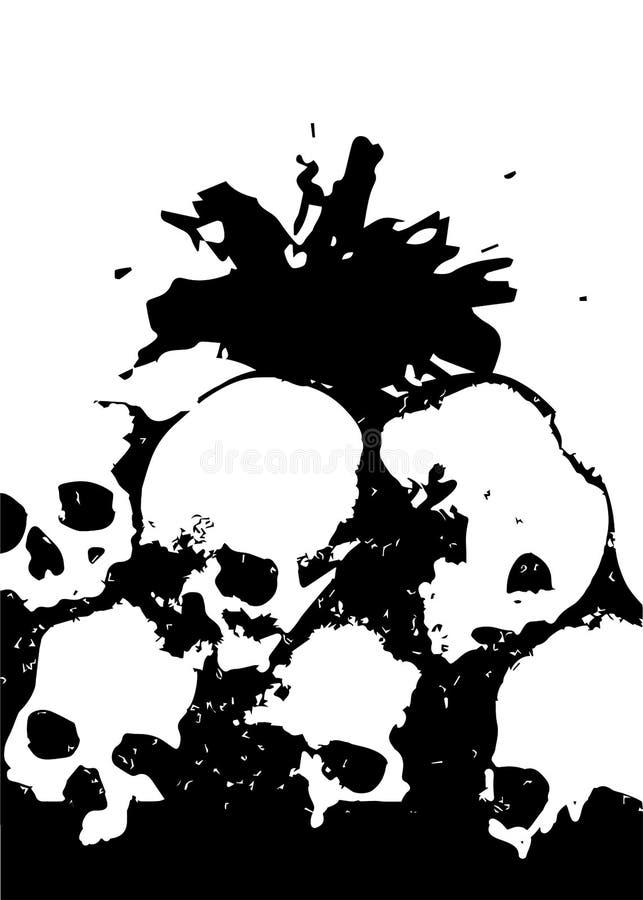 Stos czaszki ilustracyjne ilustracji