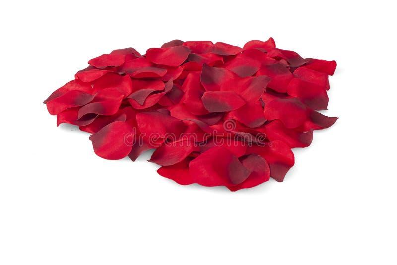 Stos Czerwonego jedwabiu Różani płatki obraz stock