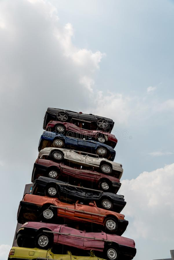 Stos dżonka samochody fotografia royalty free