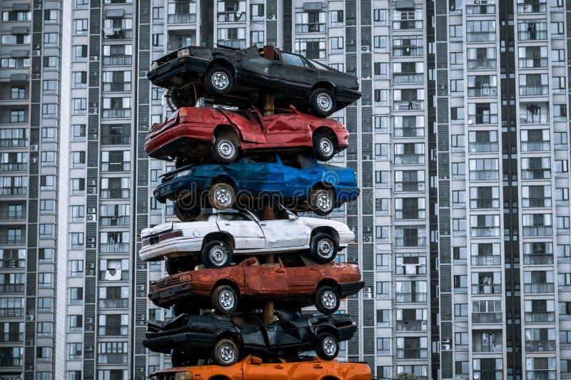 Stos dżonka samochody obraz royalty free