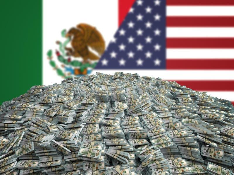 Stos 100 Dolarowych rachunków przed meksykaninem i Stany Zjednoczone Zaznaczamy fotografia royalty free