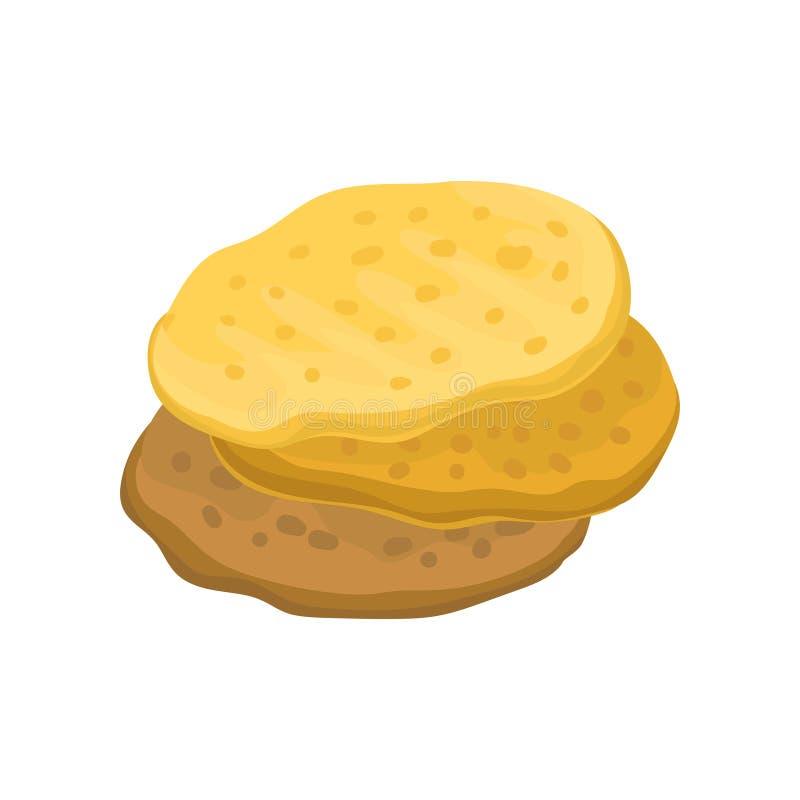 Stos domowej roboty mąk tortillas Tradycyjny Meksykański jedzenie Płaski wektorowy element dla cukiernianego menu lub promo plaka ilustracja wektor