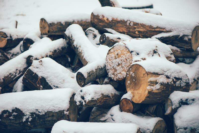 Stos drewno bele pod śniegiem zdjęcia stock