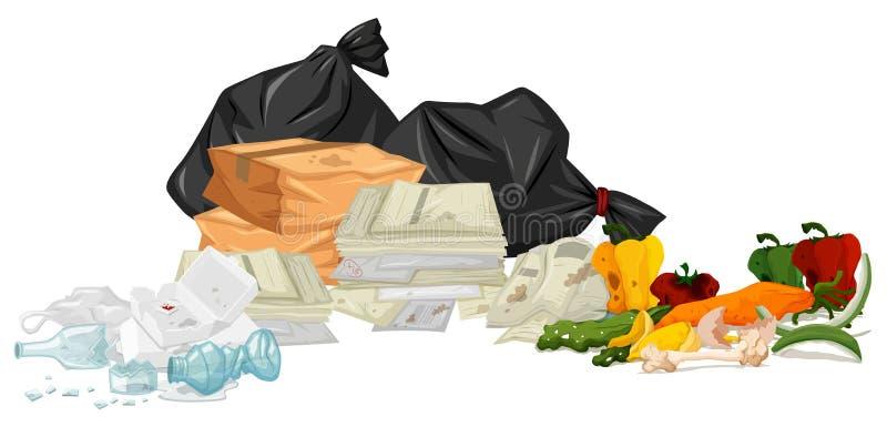 Stos grat z papierami i przegniłym jedzeniem ilustracji