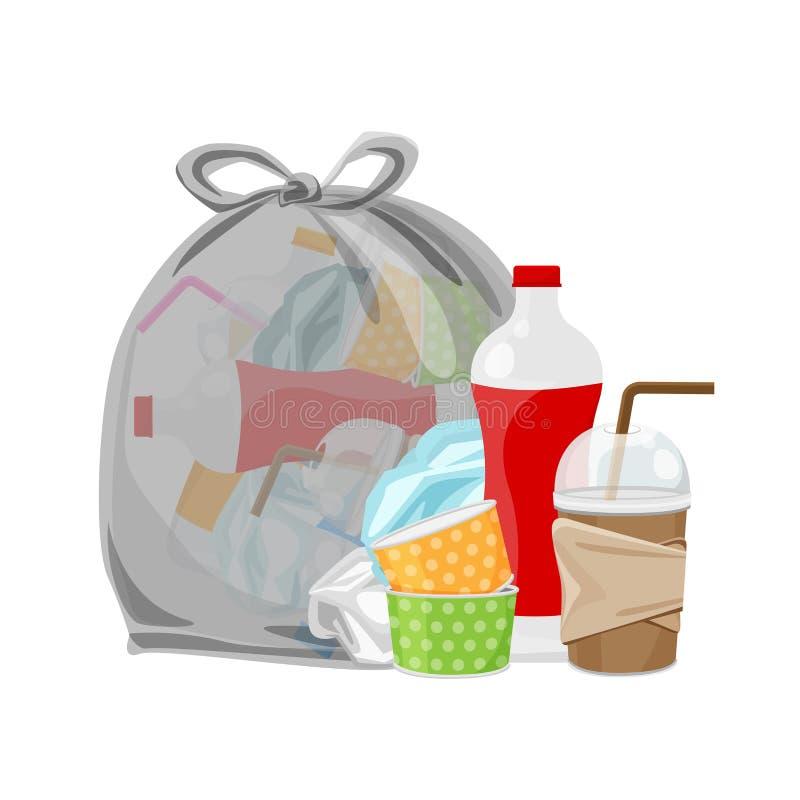 Stos jałowy usyp i torby plastikowy czerń odizolowywający na białym tle, plastikowy butelka śmieci odpady, przejrzysty klingerytu royalty ilustracja