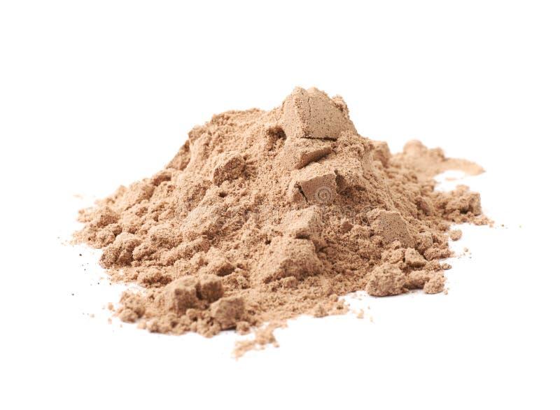 Stos kakaowy proteina proszek odizolowywający obrazy stock