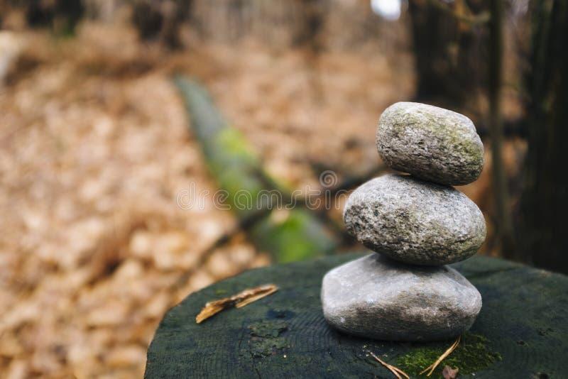 Stos kamienie wskazywać ślad w drewnach obrazy stock