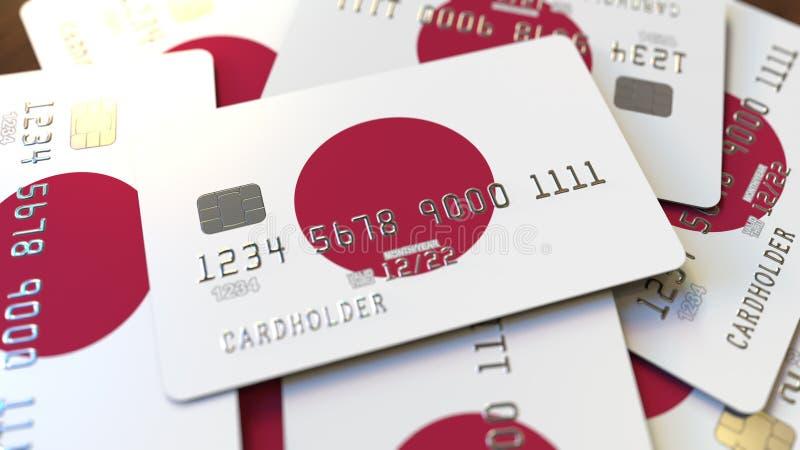 Stos karty kredytowe z flag? Japonia Japońskiego systemu bankowego konceptualny 3D rendering ilustracji