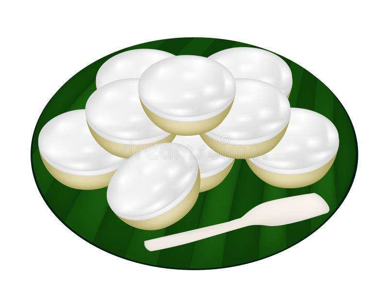Stos Kokosowi puddingi na Bananowym liściu ilustracji