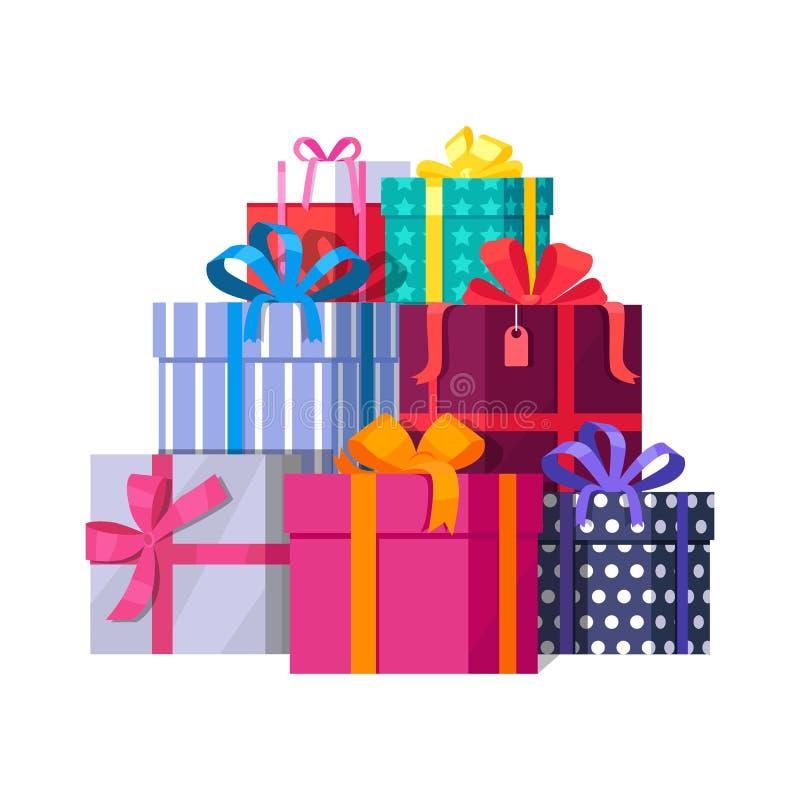 Stos kolorowi zawijający prezentów pudełka ilustracja wektor