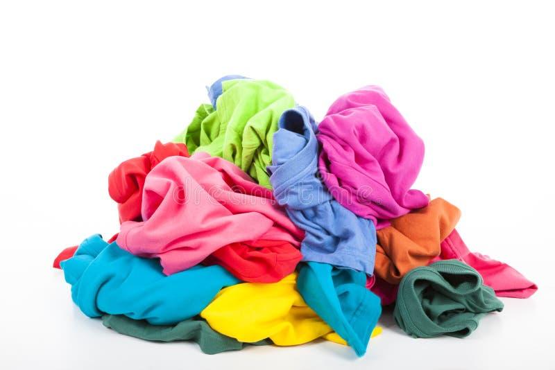 Stos kolorowy odziewa fotografia stock