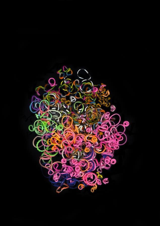 Stos kolorowy włosiany gumowy zespół obrazy royalty free