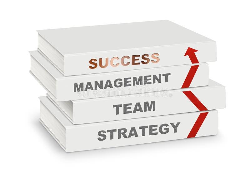 Stos książki zakrywał zarządzanie, drużyny, strategii, sukcesu i ar, ilustracja wektor