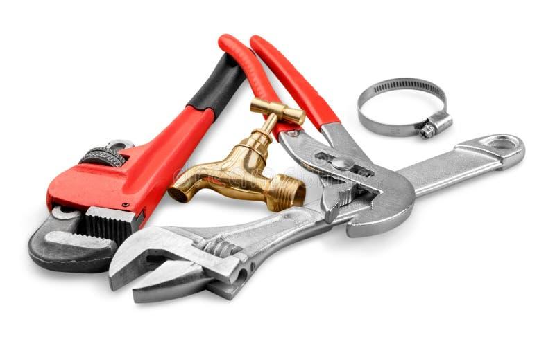 Stos locksmith narzędzia na bielu obraz stock