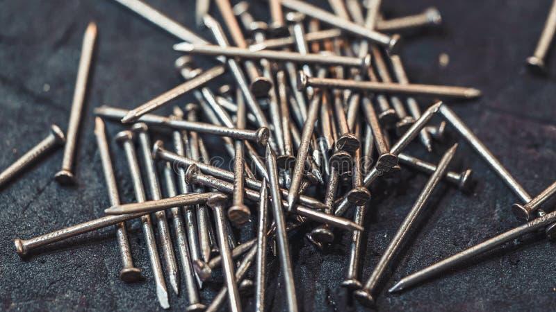 Stos metali gwoździe obraz stock