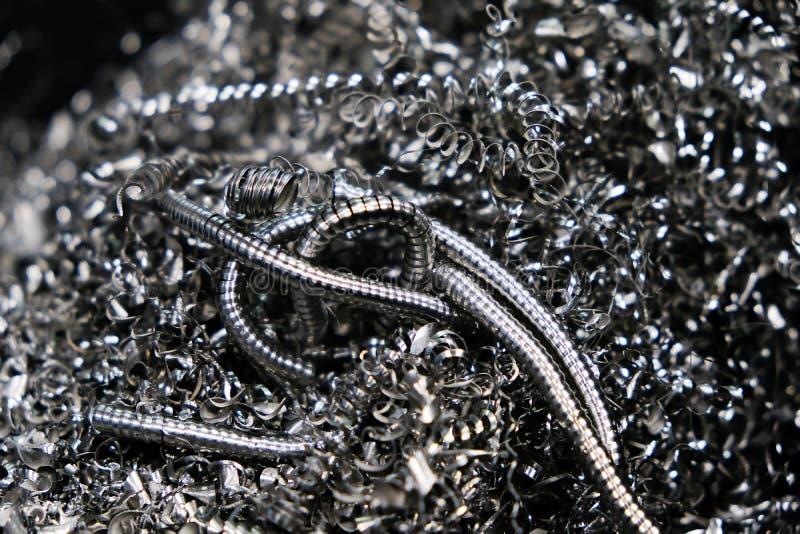 Stos metalu trociny od cnc machining Metali golenia zdjęcia stock