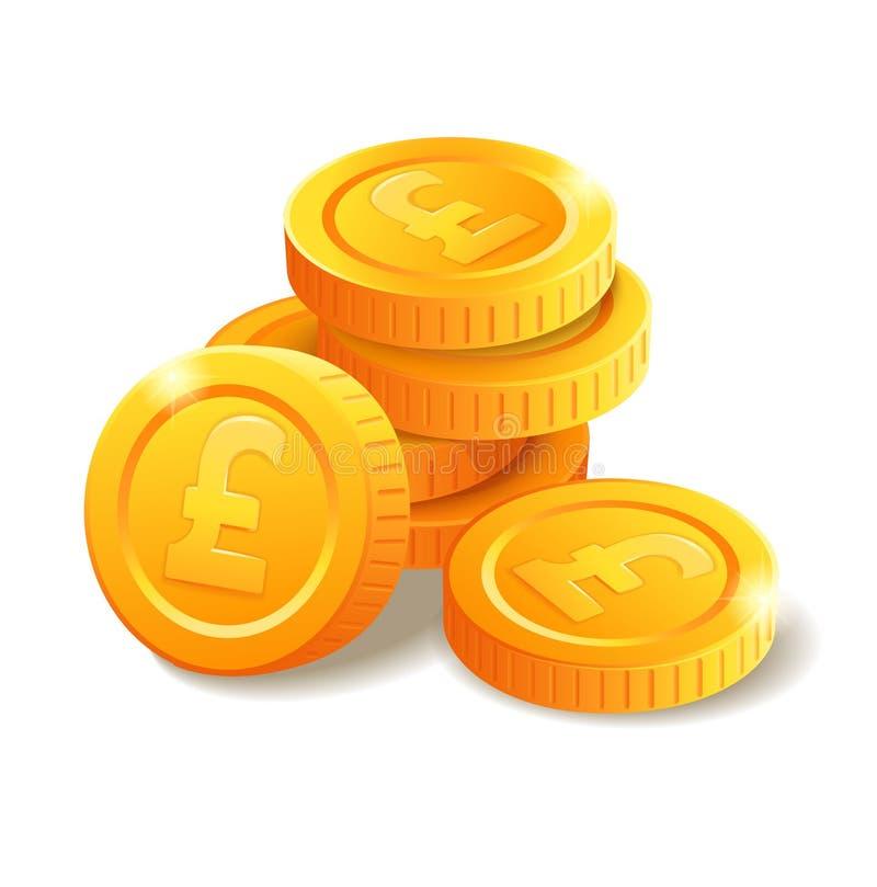 Stos monety z Funtowym symbolem ilustracji