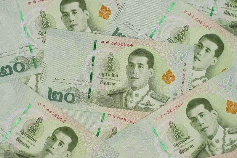 Stos nowi 20 Tajlandzkiego bahtu banknotów obraz stock
