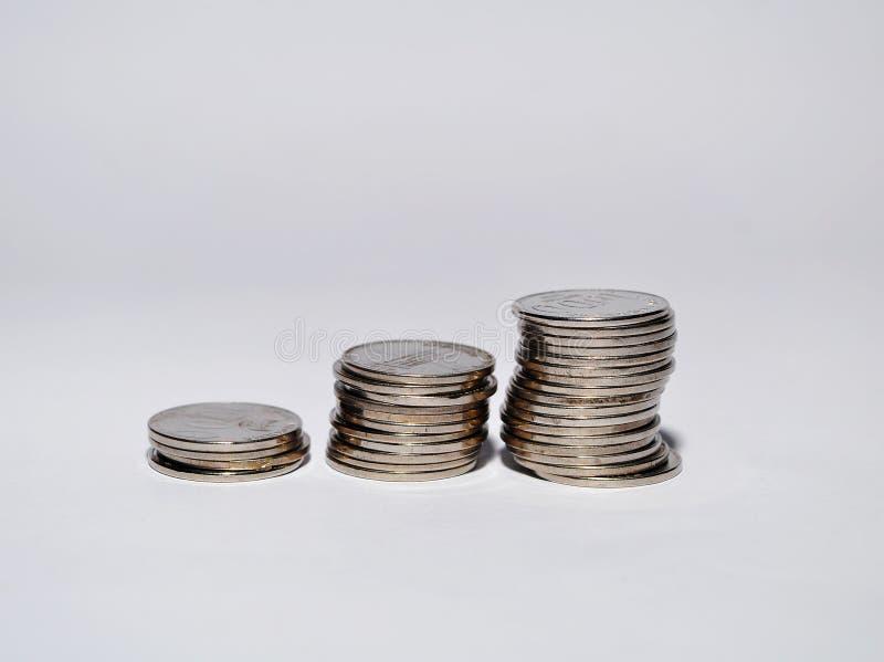Stos Odizolowywający na białym tle indonezyjczyk moneta obraz royalty free