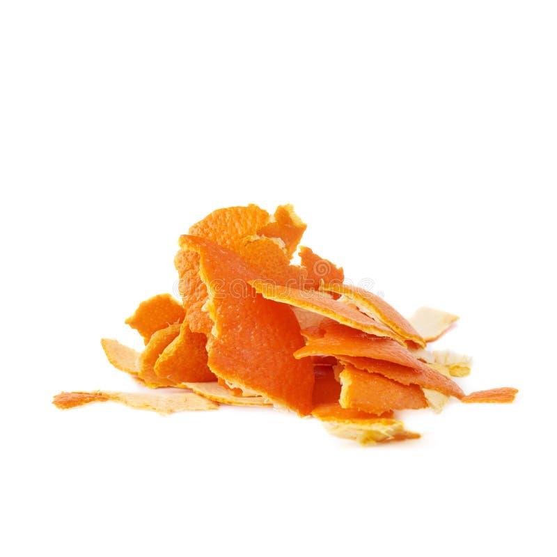 Stos odizolowywający na bielu tangerine łupa zdjęcia royalty free