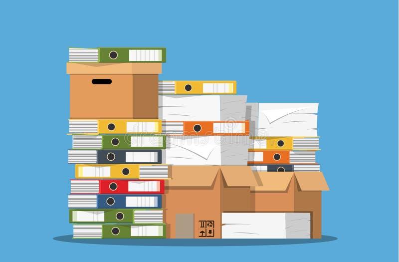 Stos papierowi dokumenty i kartotek falcówki ilustracji