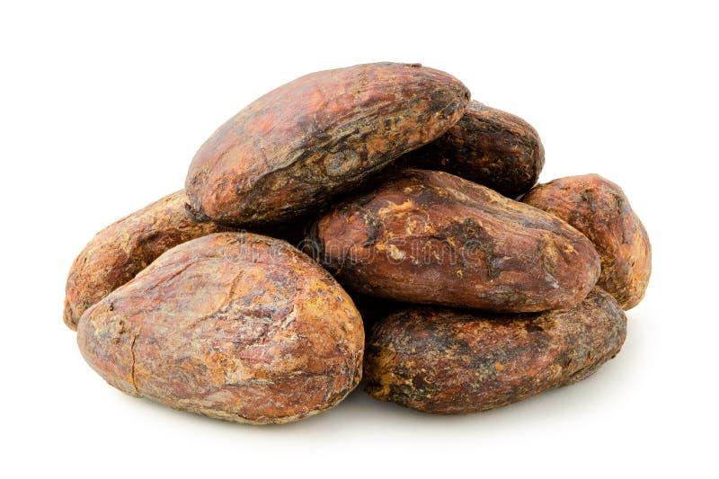Stos piec unpeeled kakaowe fasole na bielu obraz stock