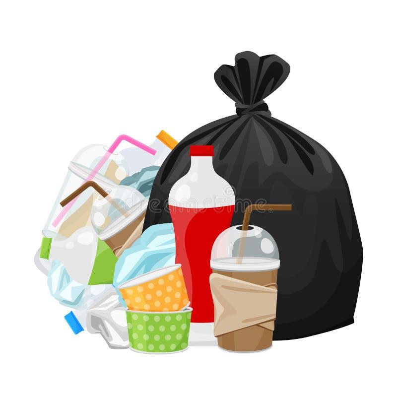 Stos, plastikowy butelka śmieci odpady, klingerytu jałowy szkło, papier, i ilustracja wektor