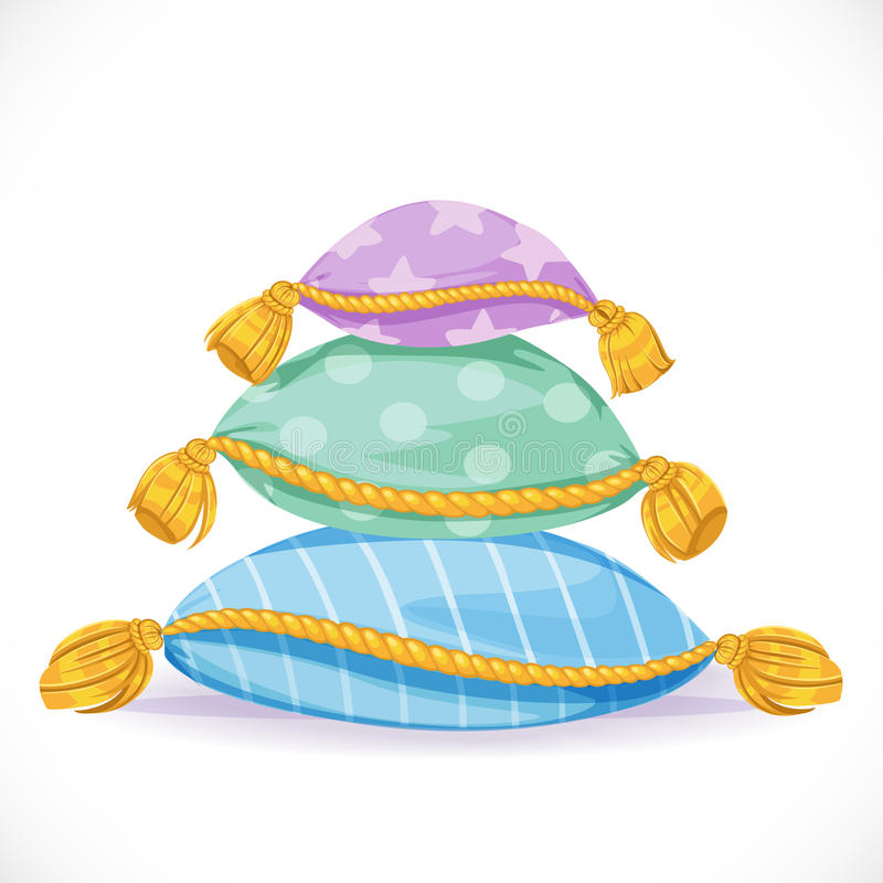 Stos poduszki z kitkami ilustracji