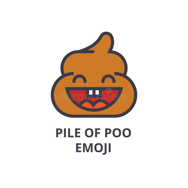 Stos poo emoji wektoru linii ikona, znak, ilustracja na tle, editable uderzenia royalty ilustracja