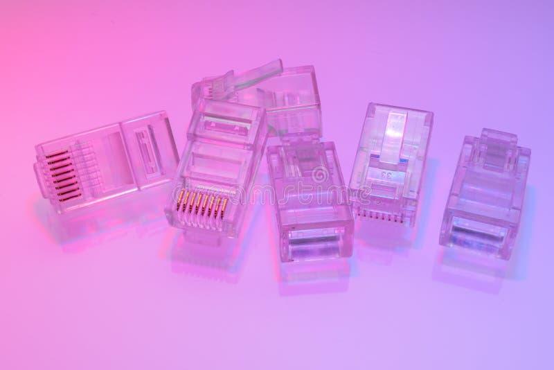 Stos RJ45 ethernetów włączniki obraz stock
