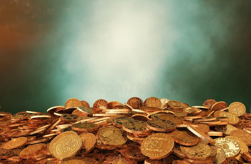 Stos rocznik monety royalty ilustracja