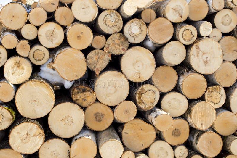 Stos siekający pożarniczy drewno przygotowywał dla zimy, tło zdjęcia stock
