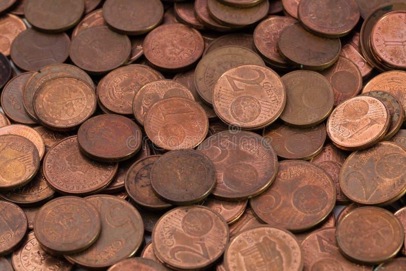Stos stare euro centu monety zdjęcie stock