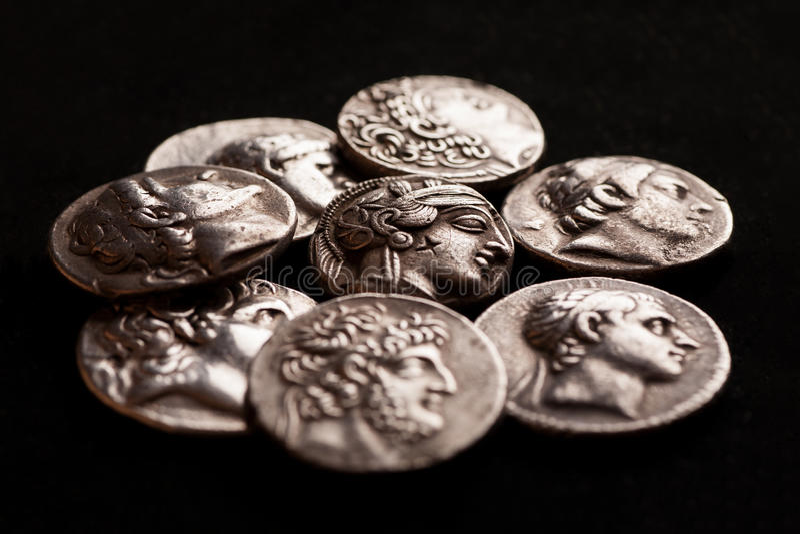 Stos starożytny grek srebne monety fotografia royalty free