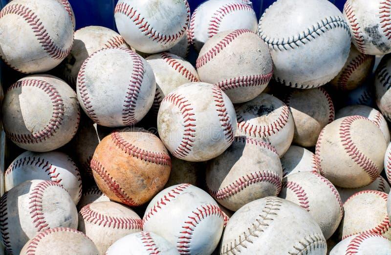 Stos starzy używać baseballe obraz royalty free