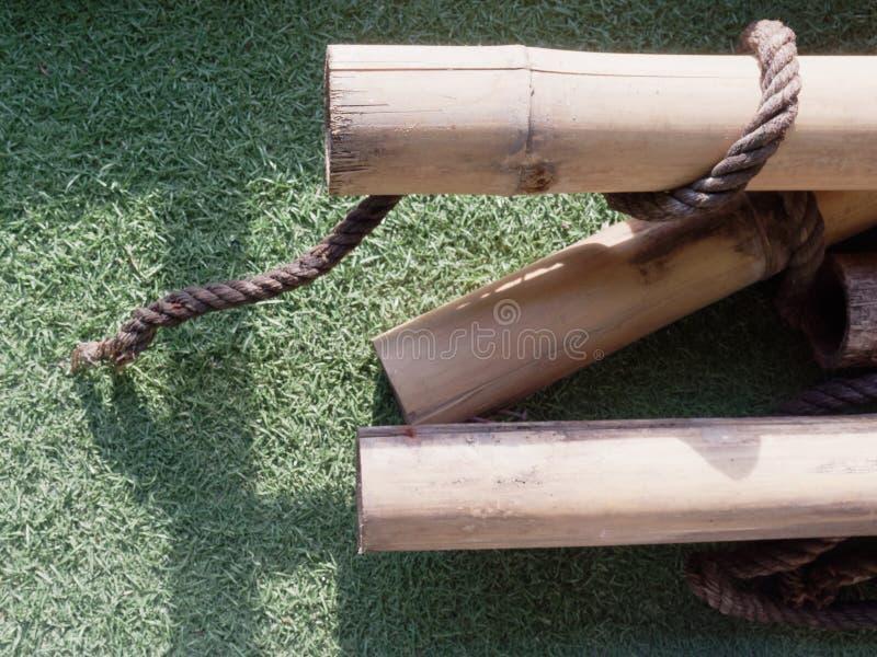 Stos suchy brown bambus wtyka z drewnianą teksturą nad zielonym astroturf na tle fotografia royalty free
