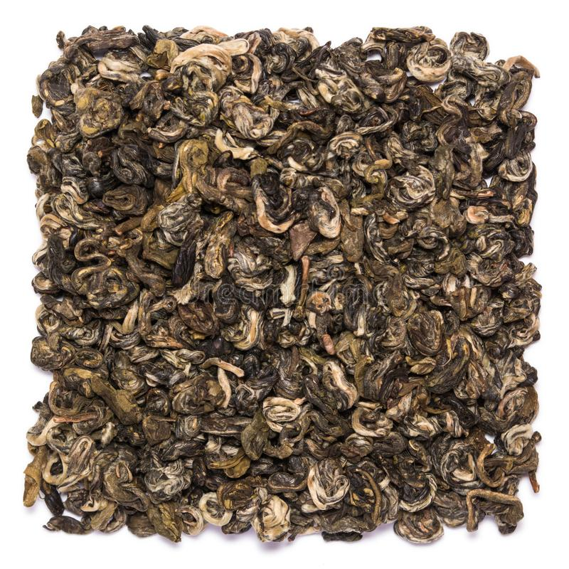 Stos suchy zielonej herbaty Bilochun ślimaczek odizolowywający na białym tle obraz royalty free