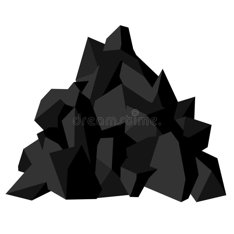 Stos w?giel Kawałki skamielina kamień, czarny kolor wektor royalty ilustracja