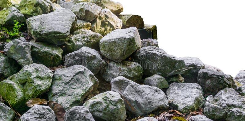 Stos wapno kamień kołysa w zakończeniu up odizolowywającym na białego tła ładnej ogrodowej dekoraci zdjęcia royalty free