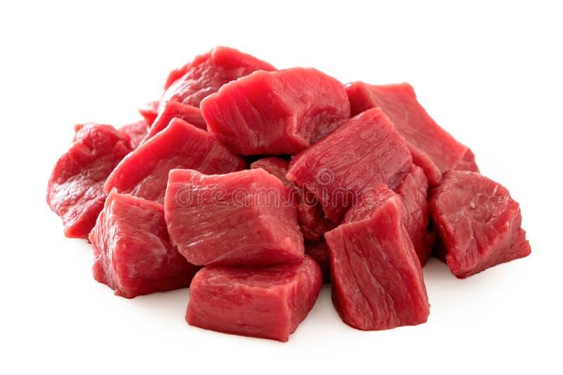 Stos wołowina sześciany odizolowywający na bielu fotografia royalty free