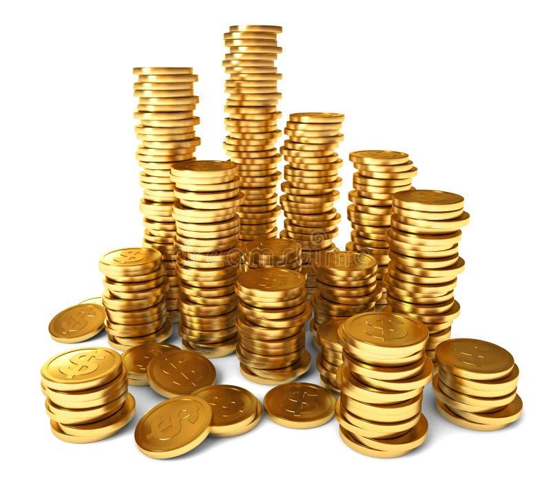 Stos złociste monety ilustracja wektor