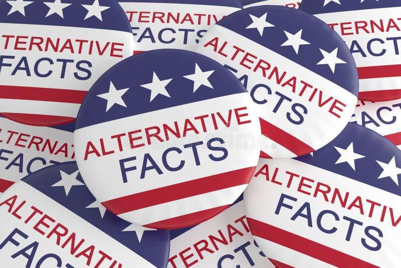Stos Z Alternatywnymi fact Zapina Z USA flagą, 3d ilustracja ilustracja wektor