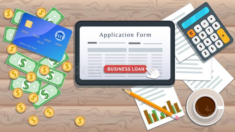 Stosuje dla mały biznes pożyczki, online podaniowa forma na płaskim pastylka ekranie z kursoru stuknięcia guzikiem odizolowywając ilustracja wektor