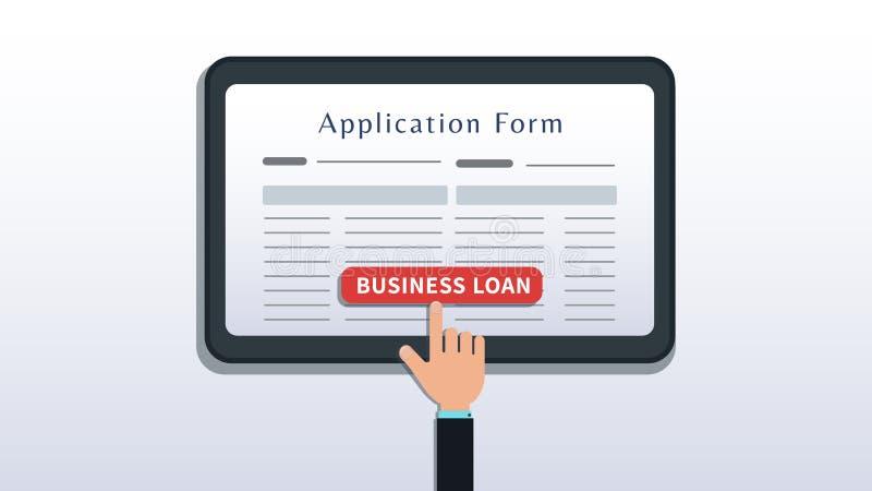 Stosuje dla mały biznes pożyczki, podaniowej formy na pastylce lub smartphone ekranu z ręki stuknięcia guzikiem odizolowywającym  ilustracji