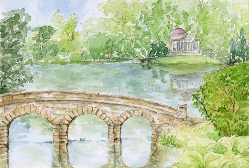 Stourheadtuin Het de Brug en Pantheon van Palladian Stourhead, het UK stock illustratie