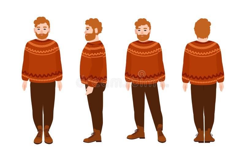 Stout bärtiger Rothaarigemann im woolen Pullover Fette männliche Zeichentrickfilm-Figur mit dem roten Haar und Bart, der gestrick lizenzfreie abbildung