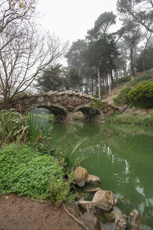 Stouw de Brug van de Meersteen en Dode Bomen in het Gouden Park van de Staat, San Francisco op een Mistige de Winterochtend stock fotografie