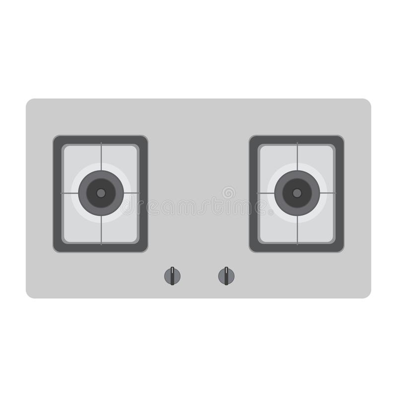 Stove gas top vector kitchen cooking view oven burner isolated. stock illustration